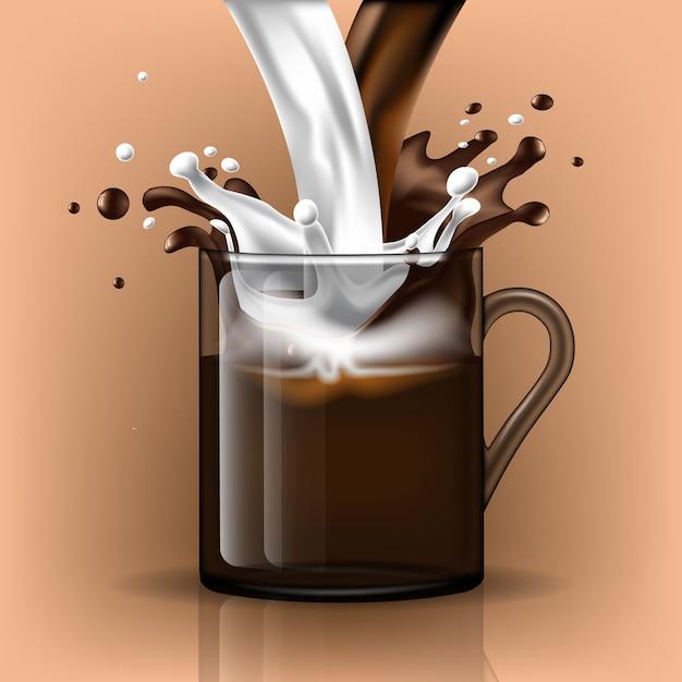 Milch in eine tasse spritzen foto 1